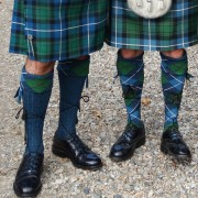 Tartan kilt hose (right) and tartan cuff hose (left)