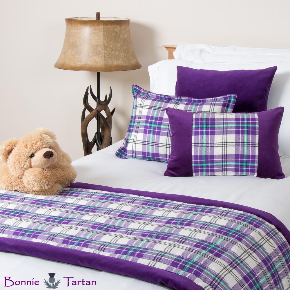 Thistle Violet Tartan Bedding Set