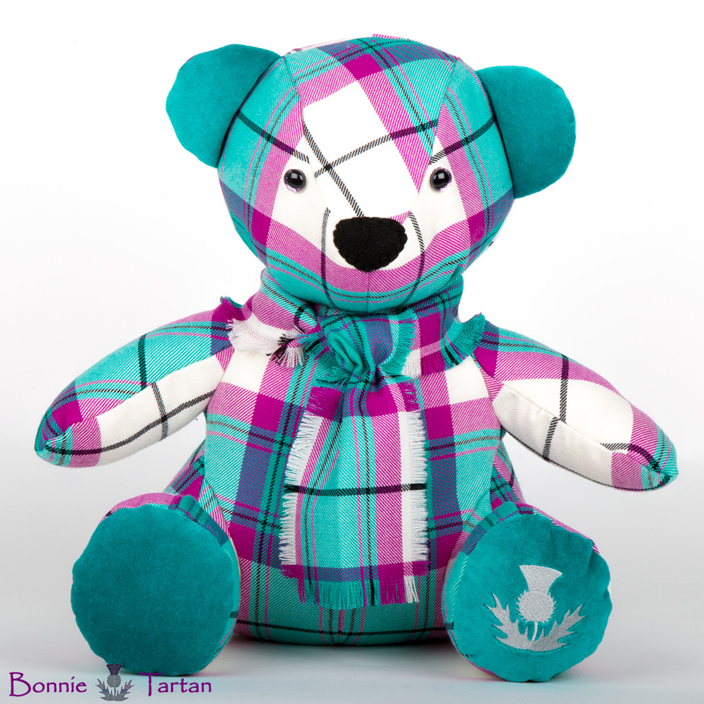 Bonnie Tartan Bear shown in Mint Kerr Tartan