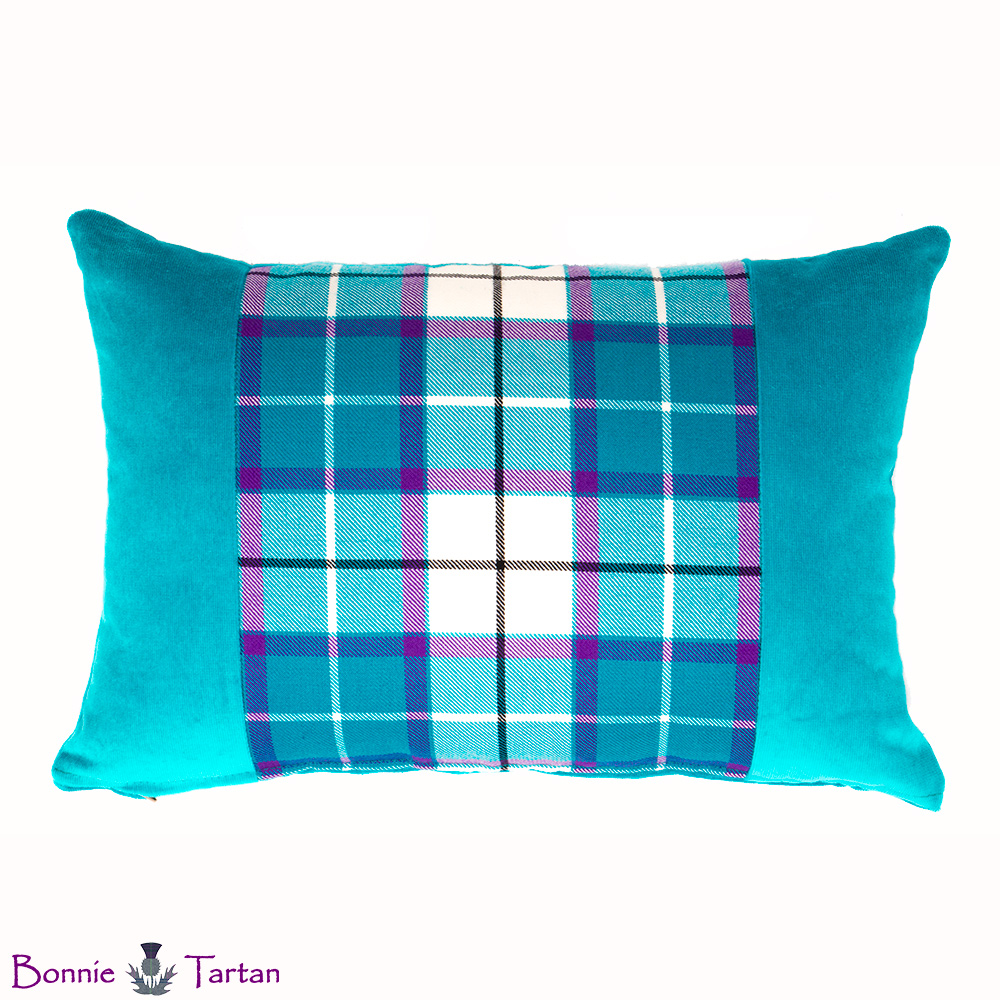 Bonnie Aqua Tartan Accent Cushion