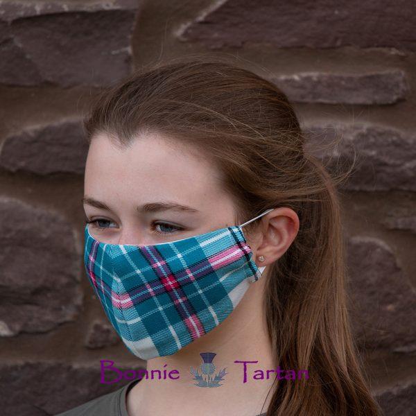 Thistle Aqua Tartan Face Mask