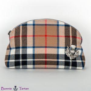 Camel Tartan Wool Cosmetic Bag